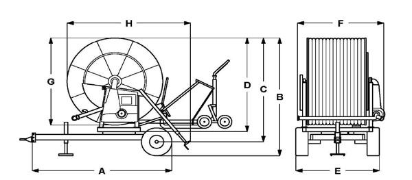 Размери на дъждовални машини серия GT
